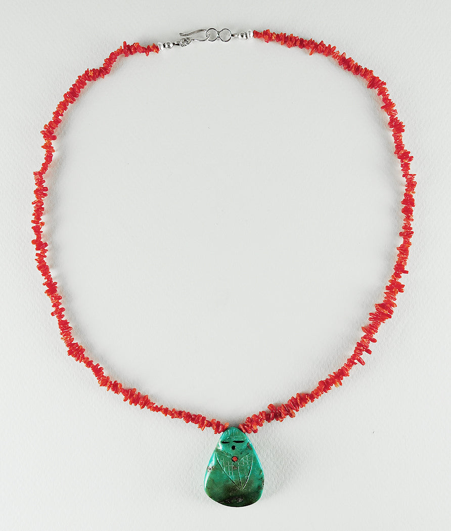 Old Kingman Turquoise & Red Coral Corn Maiden Necklace