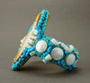 Turquoise, Shell & Gold Lip Shell Corn Maiden Cuff Bracelet