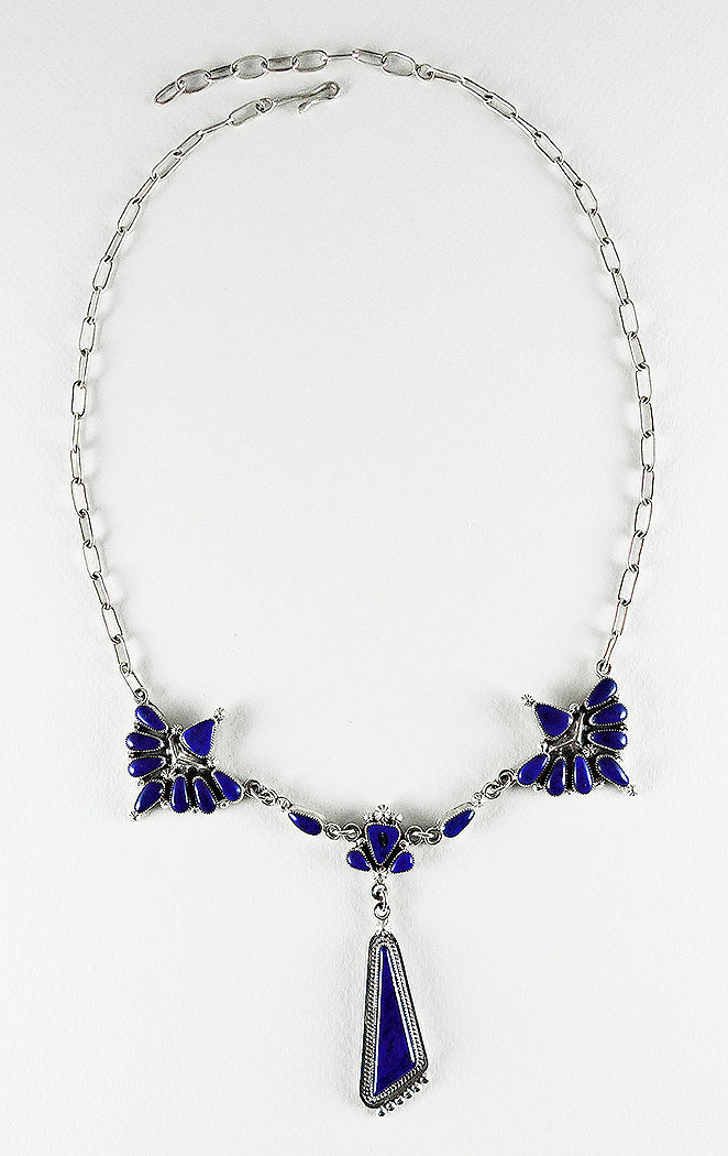 Lapis & Sterling Silver Cluster Work Necklace