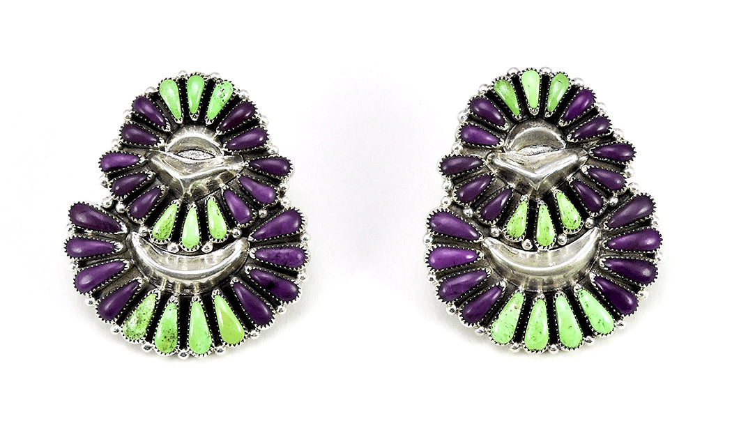 Gaspeite & Sugilite Cluster Work Earrings