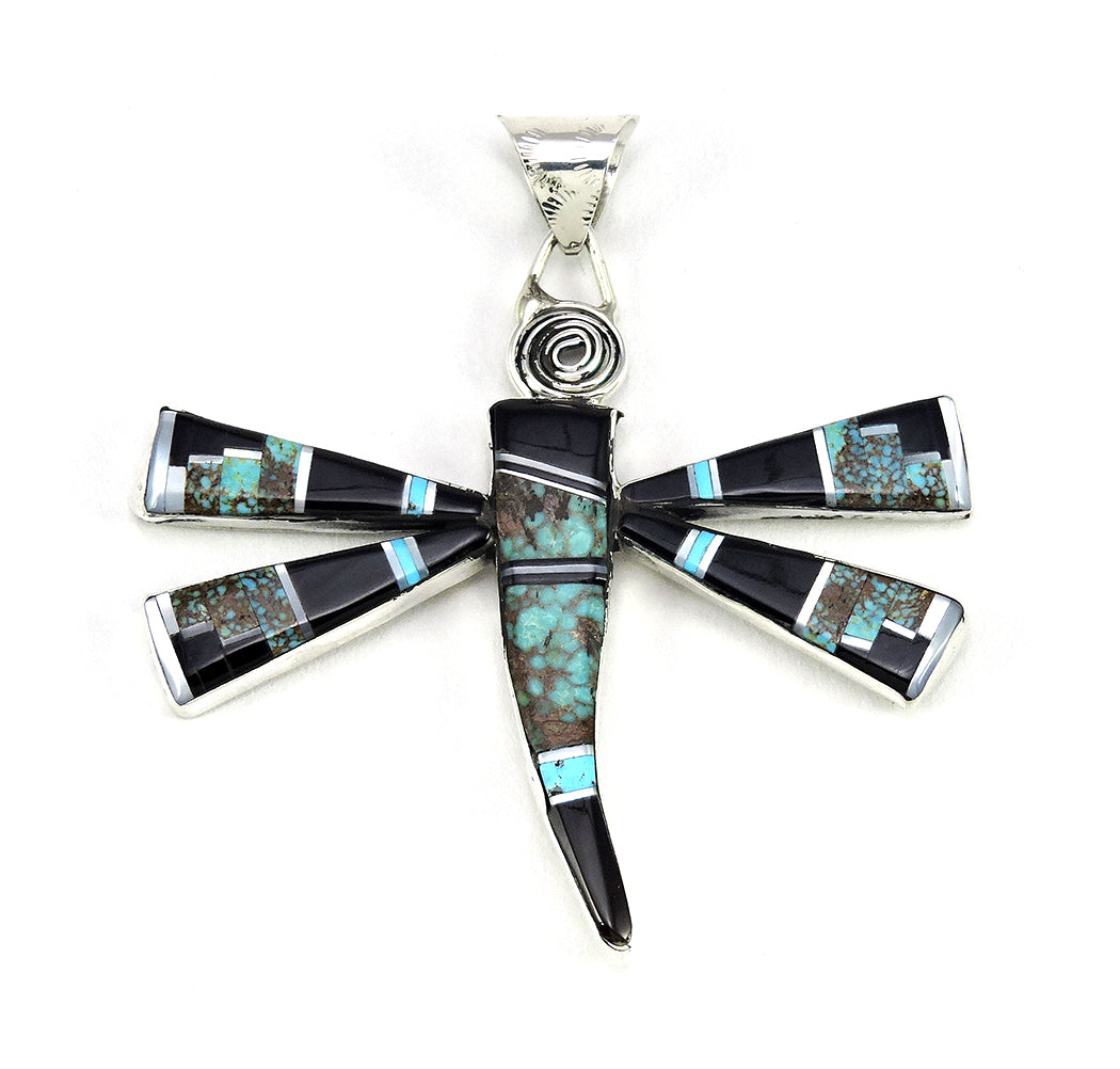 Turquoise, Mother-Of-Pearl & Pen Shell Inlaid Dragonfly Pendant