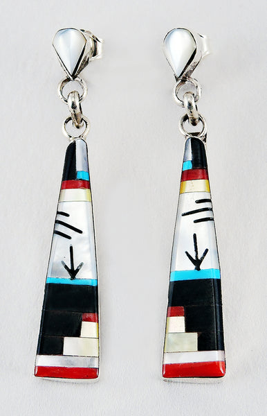 Mother-Of-Pearl, Pen Shell, Red Coral, Turquoise & Gold Lip Shell Inlaid Landscape Earrings