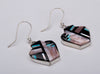 Inlaid Pen Shell, Pink Mussel Shell & Turquoise Pottery Earrings