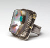 Reticulated Sterling Silver, Abalone, Kingman Turquoise & 18K Gold Ring