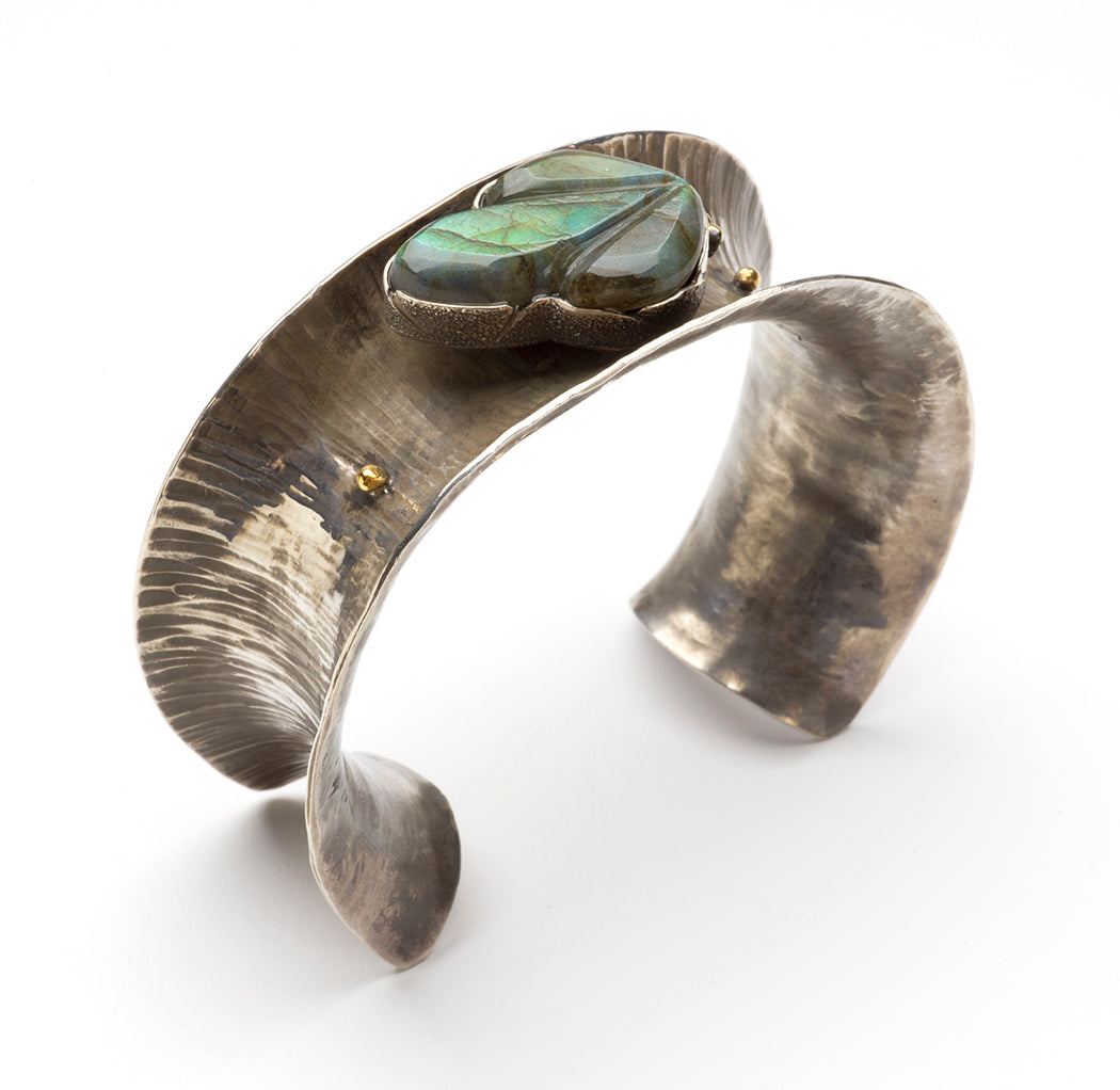 Hollow Form Reticulated Sterling Silver & Carved Labradorite Cuff Bracelet
