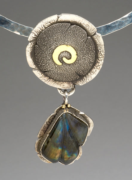 Reticulated Sterling Silver, 18K Gold & Carved Labradorite Pendant