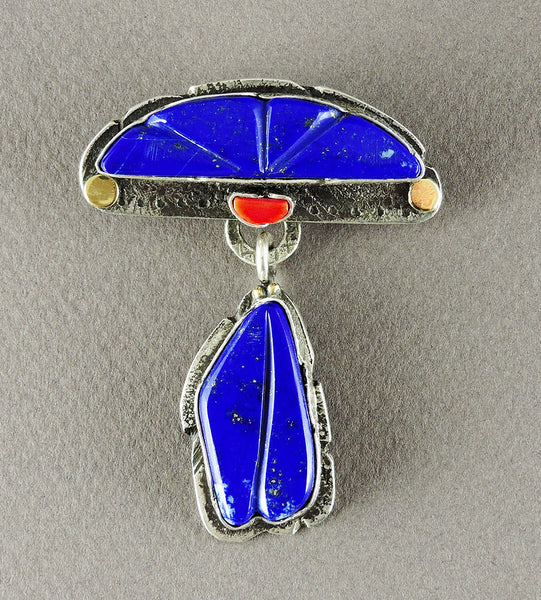 """The Heart Of The Water"" Lapis & Red Coral Pendant"
