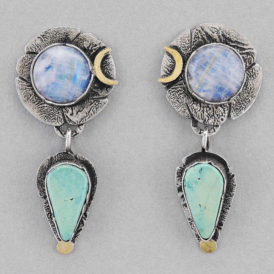 Prismatic Moonstone and Turquoise Dangle Earrings