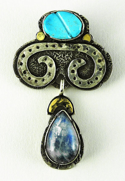 """Rain"" Moonstone & Sleeping Beauty Turquoise Pendant"