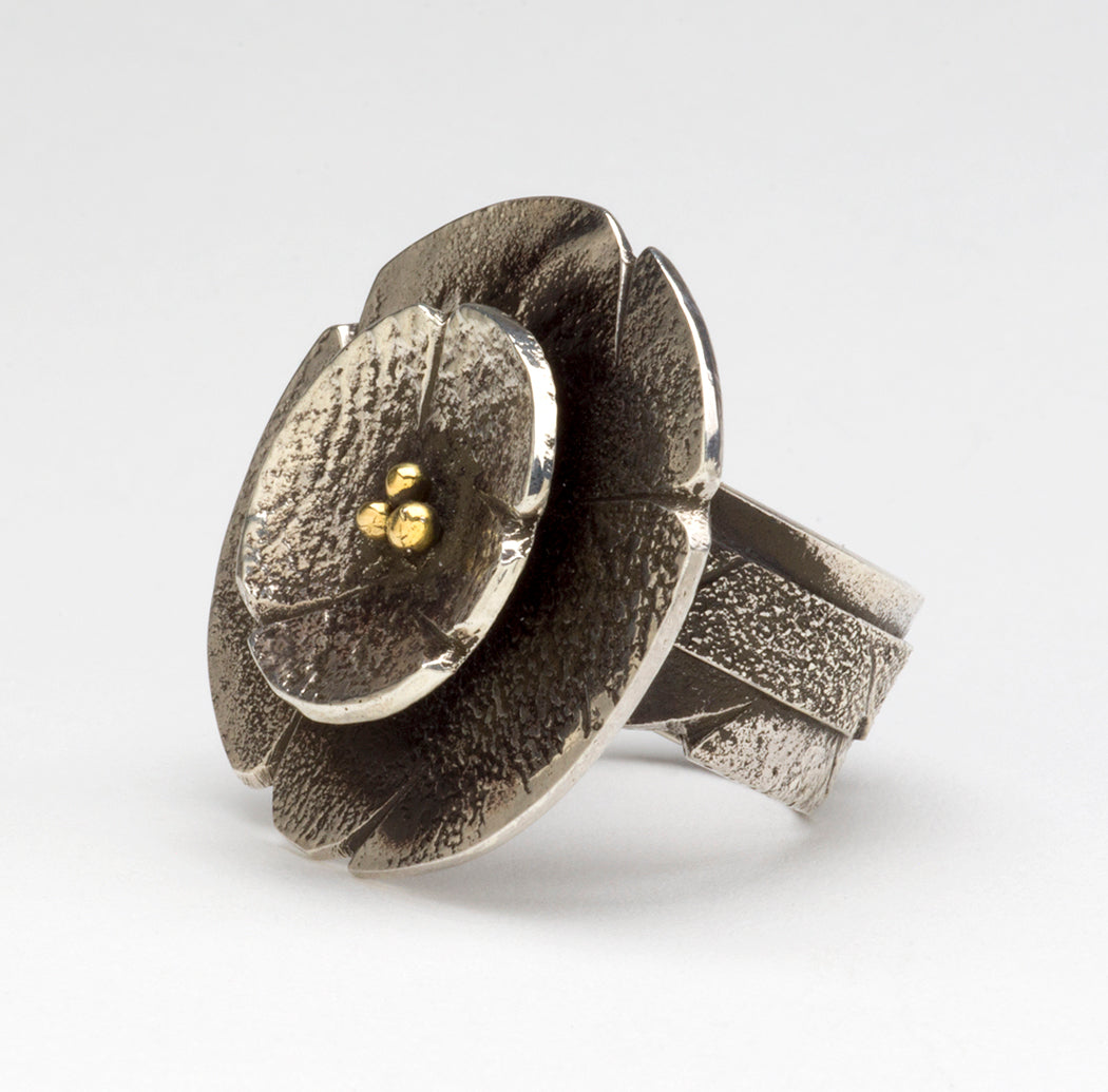 Reticulated Sterling Silver & 18K Gold Moon Blossom Ring