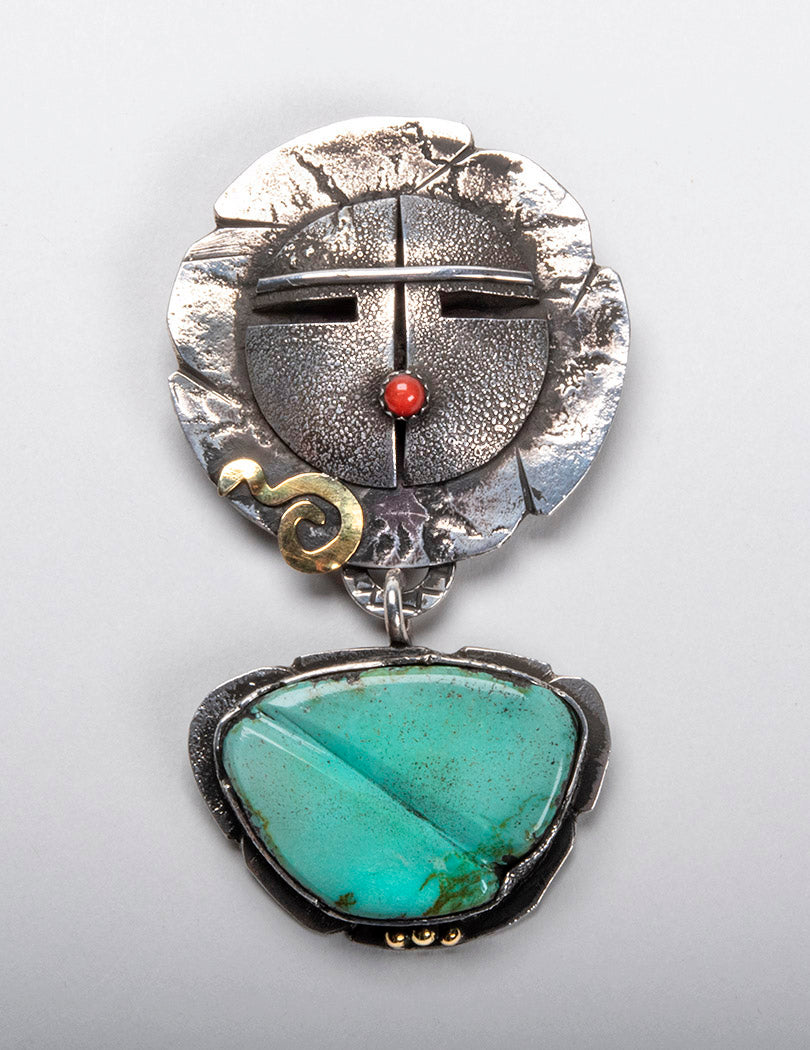 Sunface Pendant With Morenci Turquoise