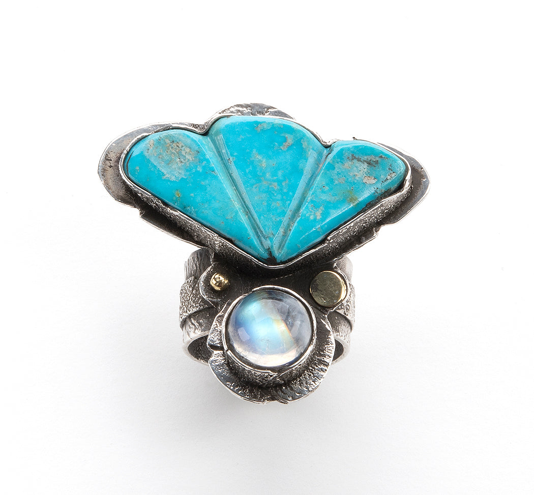 Reticulated Sterling Silver, 18K Gold, Turquoise Mountain Turquoise & Moonstone Ring