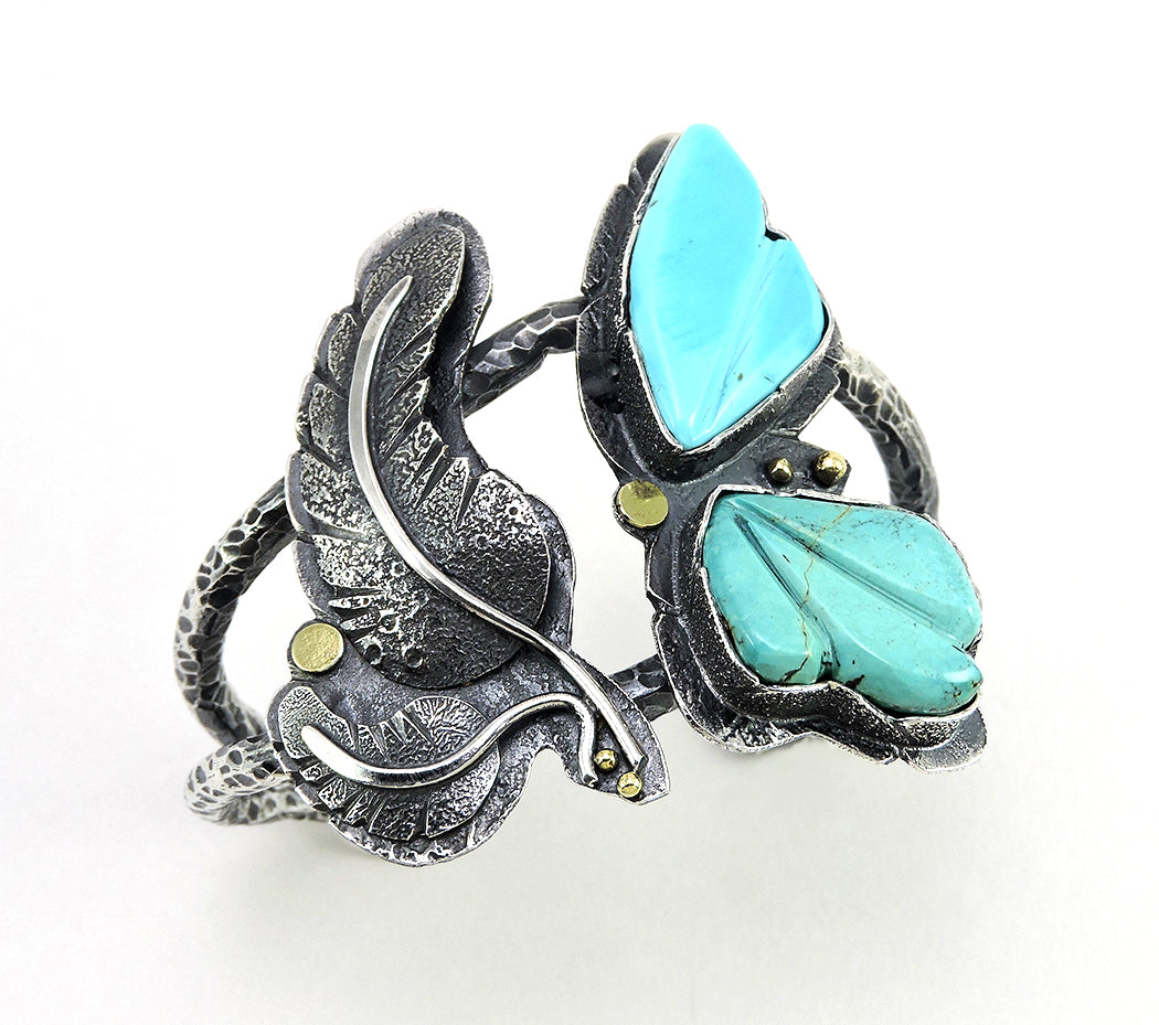 Reticulated Sterling Silver, 18K Gold & Blue Moon Turquoise Cuff Bracelet