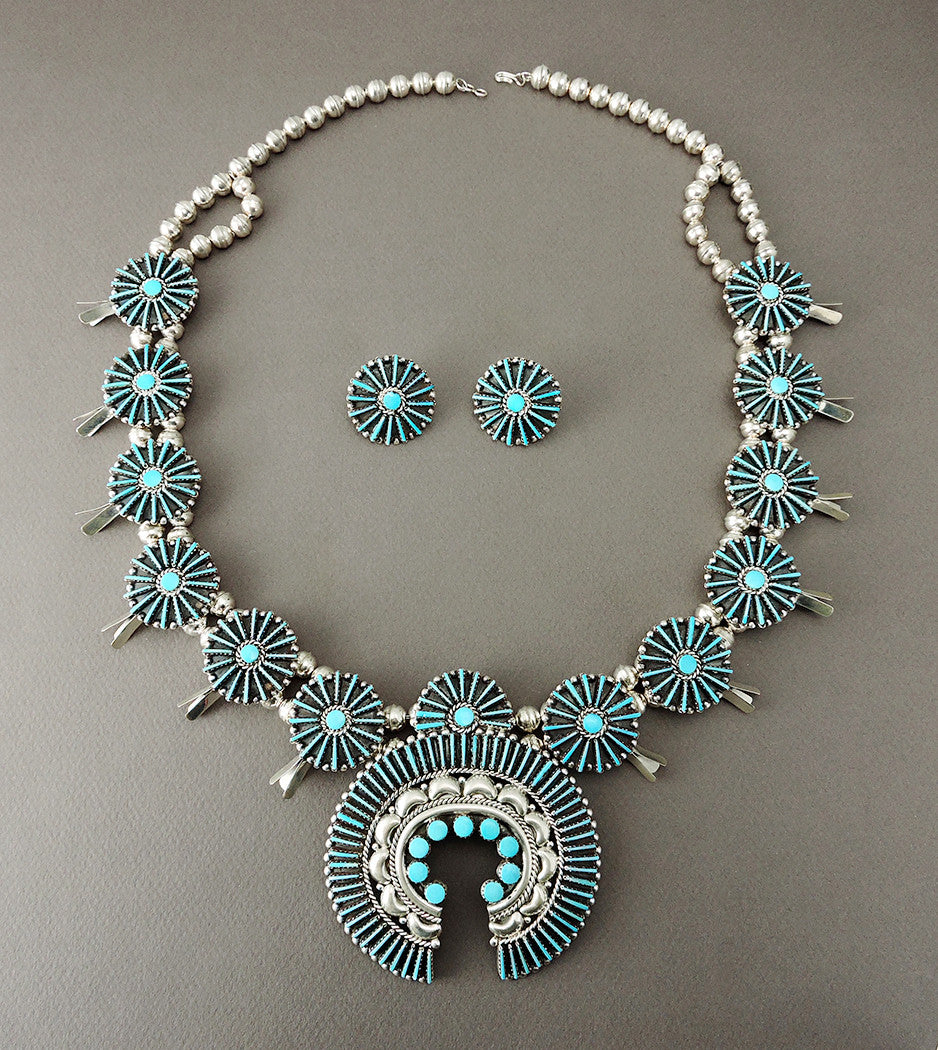Sleeping Beauty Turquoise Petit Point Squash Blossom Necklace & Earrings Set