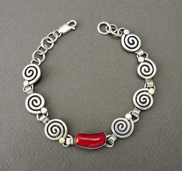 Journey Of Life Link Bracelet With Red Coral