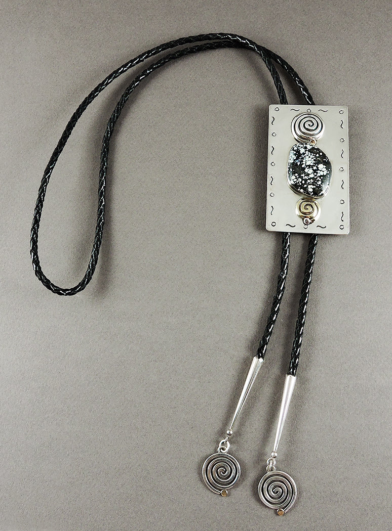 New Landers Turquoise, 18K Gold & Sterling Silver Bolo Tie