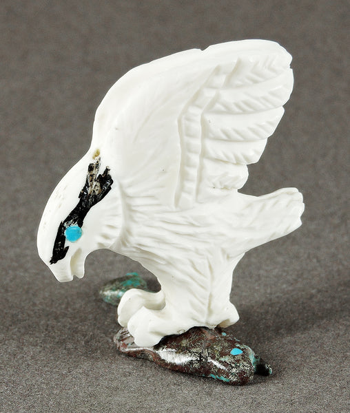 Osprey Of Bone With Turquoise Fish