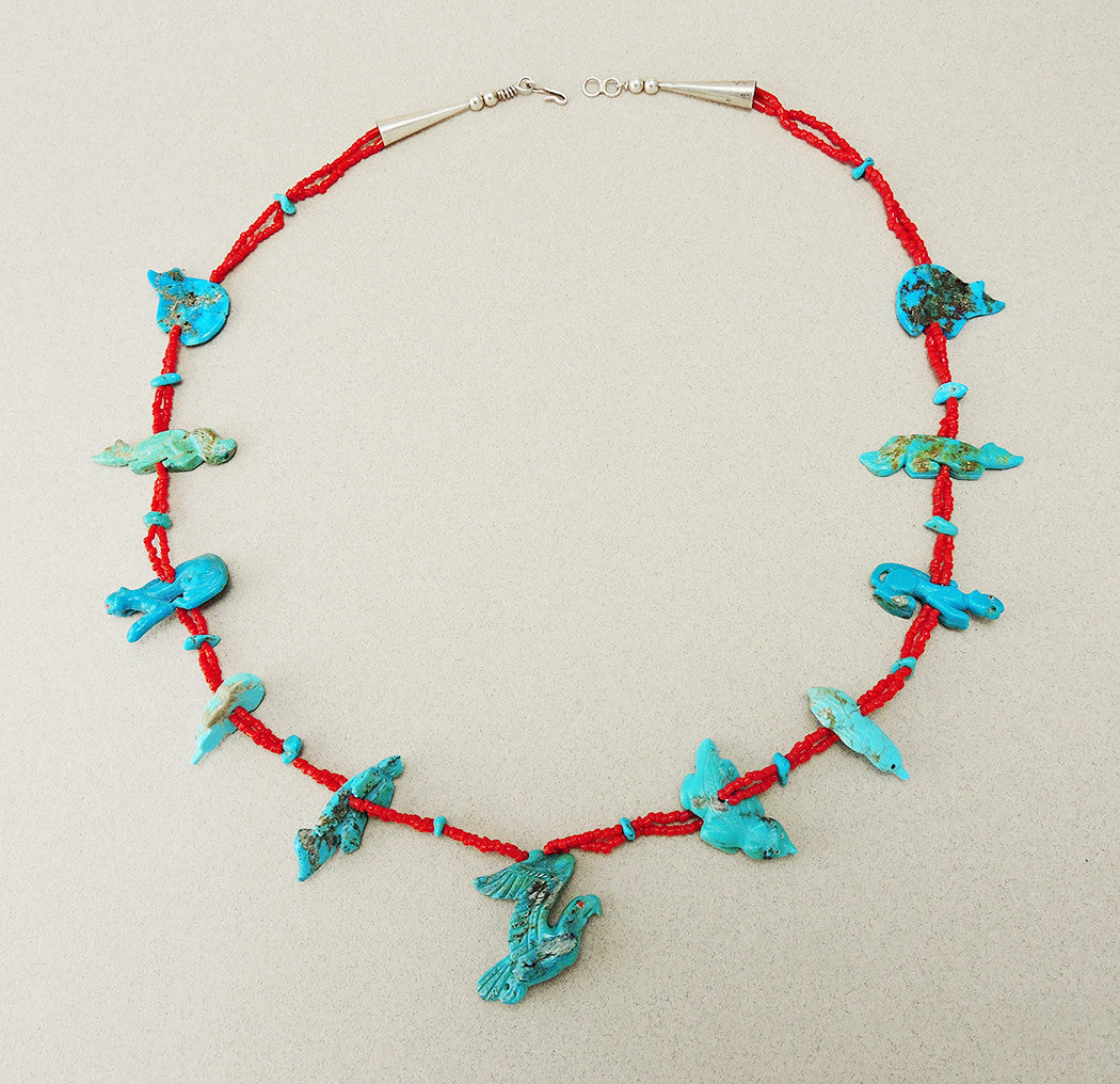 Six Directions Necklace Of Turquoise & Red Coral