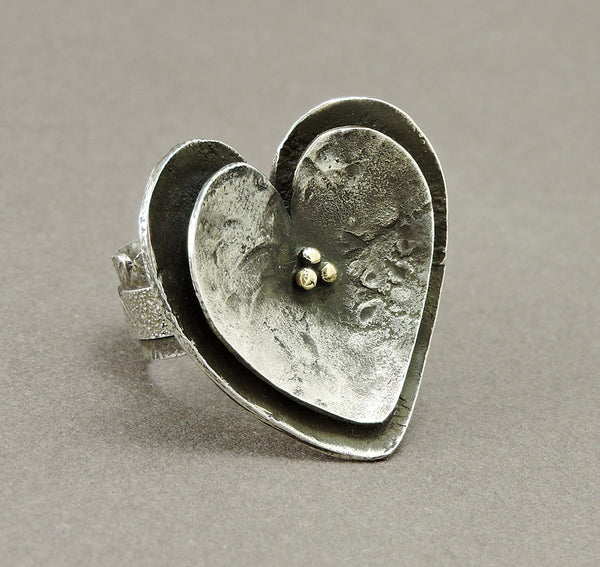 Kali's Heart Ring Of Reticulated Sterling Silver & Gold