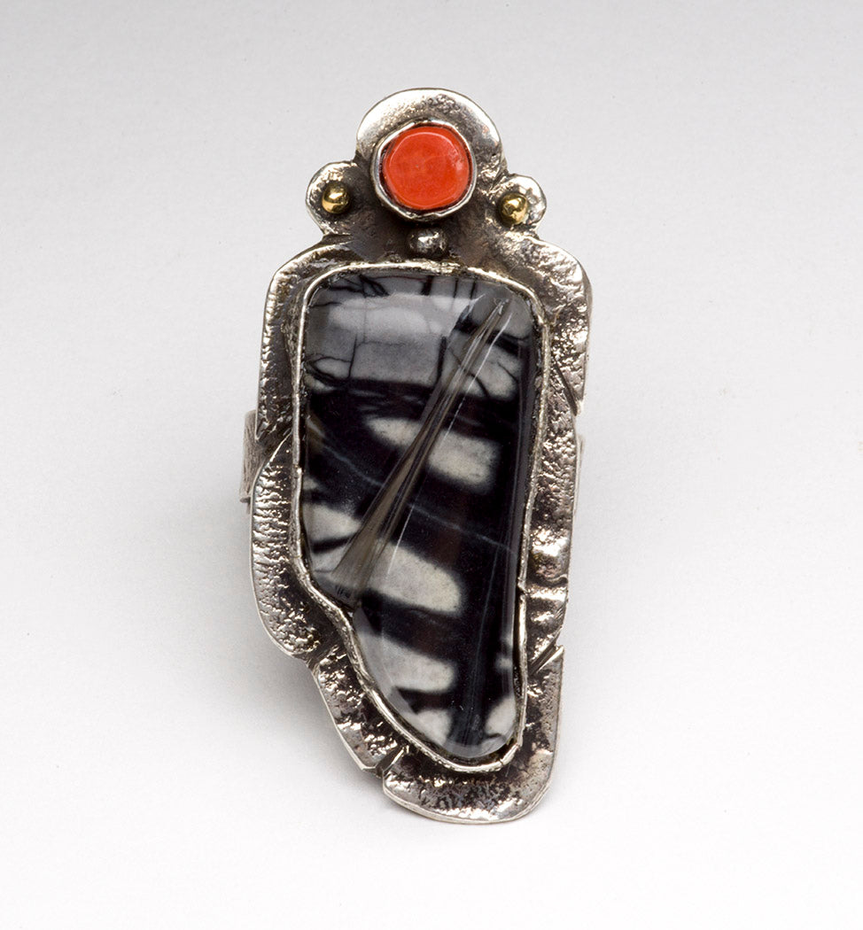 Jasper and Coral Ring