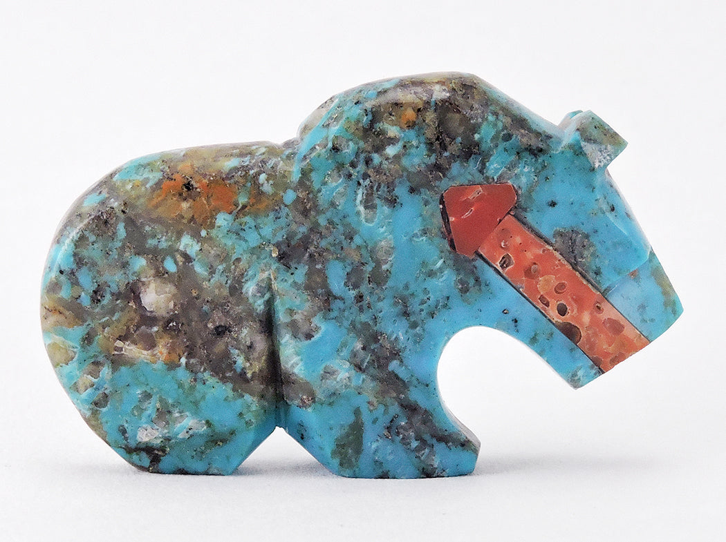 Meditative Turquoise Bear with Heartline