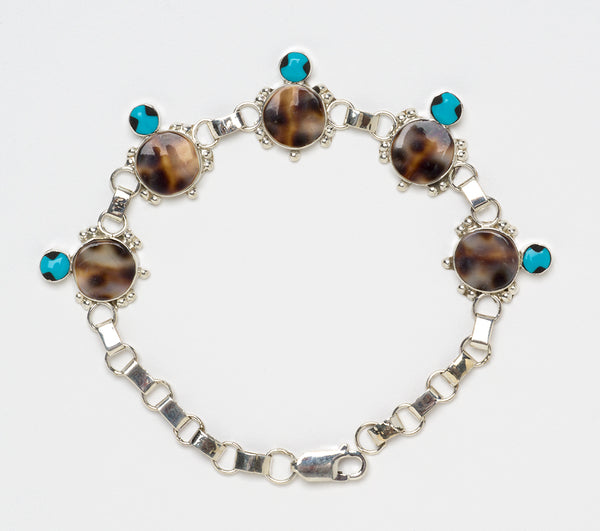 Cowry Shell, Sleeping Beauty Turquoise & Jet Inlaid Turtle Link Bracelet
