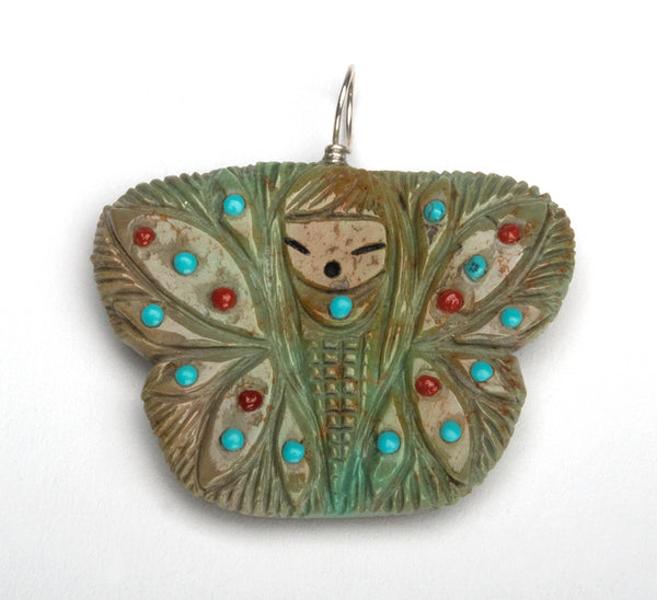 Reversible Butterfly Corn Maiden Pendant Of Turquoise