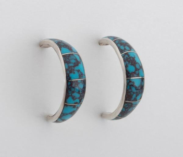 Inlaid Turquoise Half Hoop Earrings
