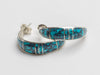 Inlaid Spider Web Turquoise Half Hoop Earrings