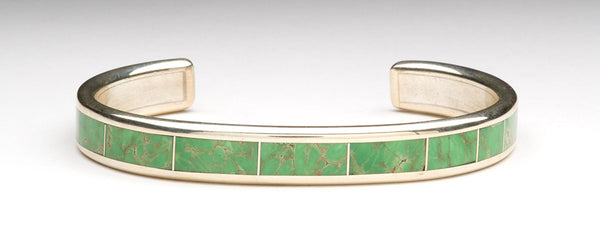Sleek Cripple Creek Turquoise Inlay Cuff Bracelet