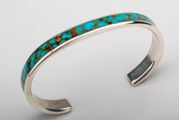 Contemporary Kingman Inlay Cuff Bracelet