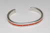 Red Coral Channel Inlay Cuff Bracelet