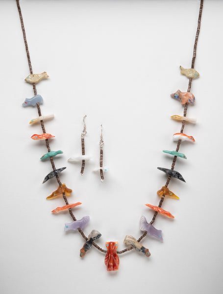Animal Gathering Fetish Necklace & Earrings Set