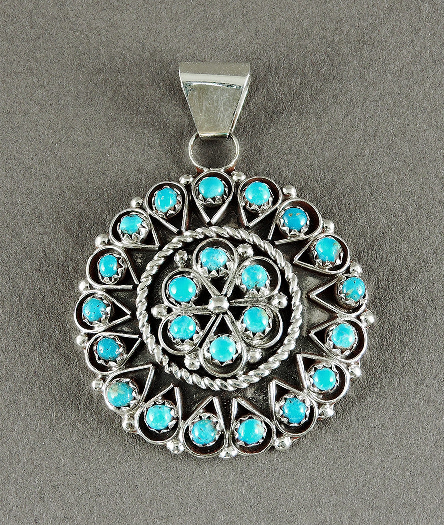 Sterling Silver & Sleeping Beauty Turquoise Petit Point Pendant