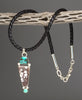 Magnesite & Turquoise Pendant With Braided Leather Necklace