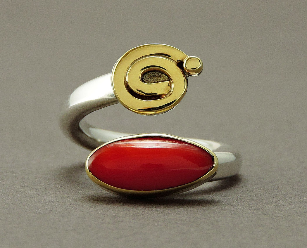 Journey Ring with Red Coral