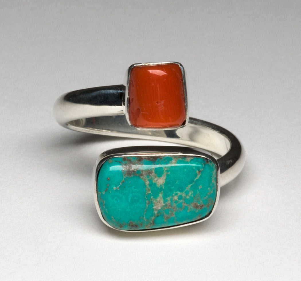 Campitos Turquoise & Natural Red Coral Adjustable Ring