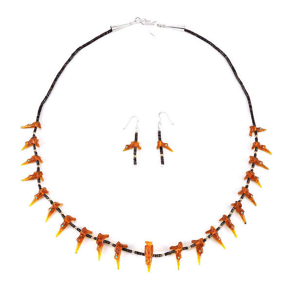 Amber Hummingbird Fetish Necklace & Earrings Set