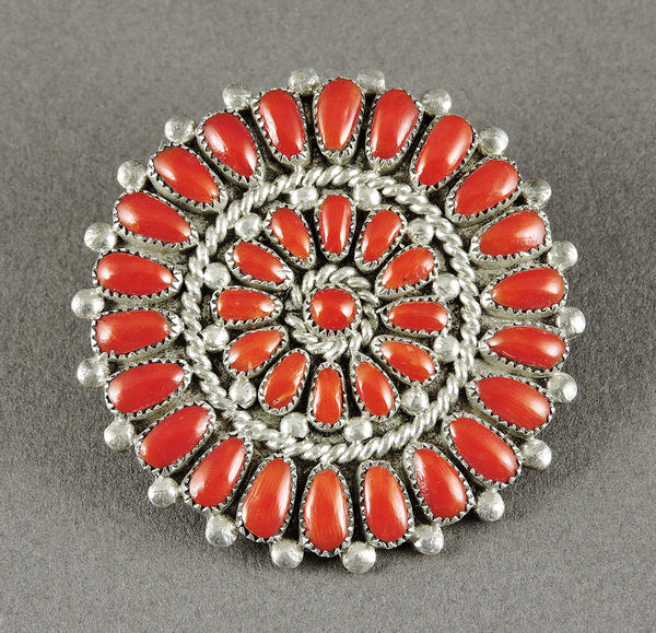 Red Coral Cluster Medallion Pin/Pendant