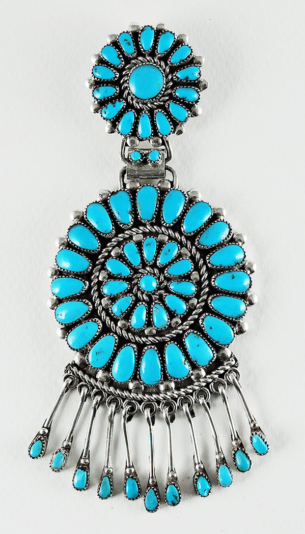 Sleeping Beauty Turquoise Cluster Work Pendant