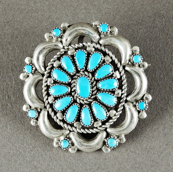 Sleeping Beauty Turquoise Cluster Work Pin/Pendant
