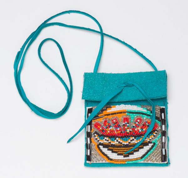 Medicine Pouch With Beaded Corn-Filled Pottery Bowl