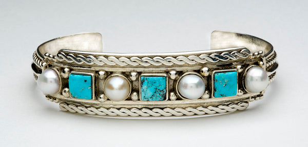 Turquoise Of The Sky & Pearl Of The Sea Cuff Bracelet