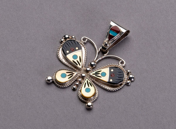 Intricate Inlay Butterfly Pendant