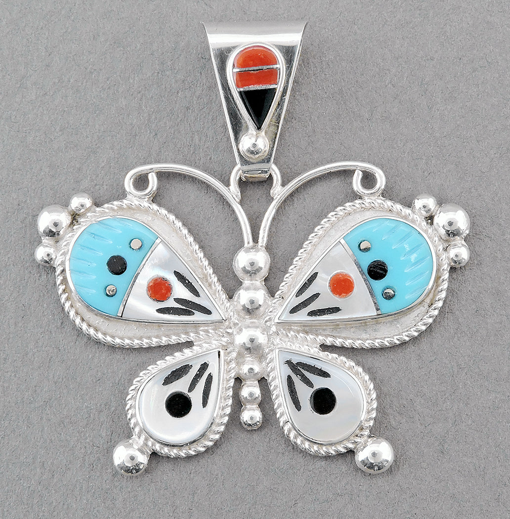 Glorious Butterfly Pendant with Multi-Stone Inlay