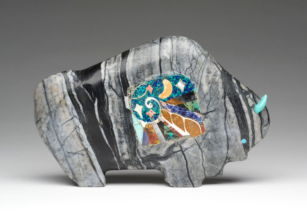 Large Bison With Mosaic Inlay