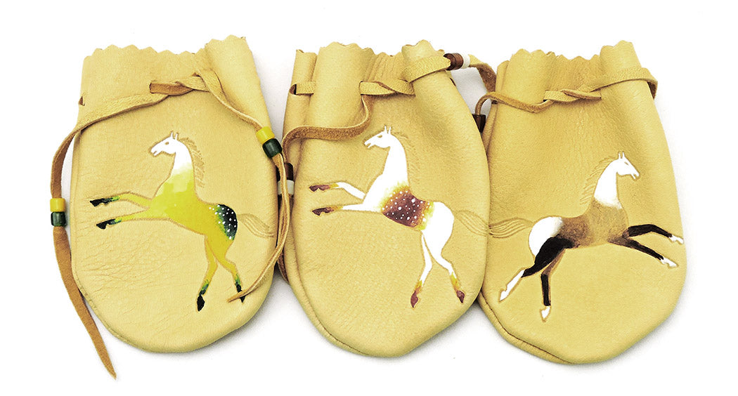 Lovely Hand-Painted Horse Pouch Trio