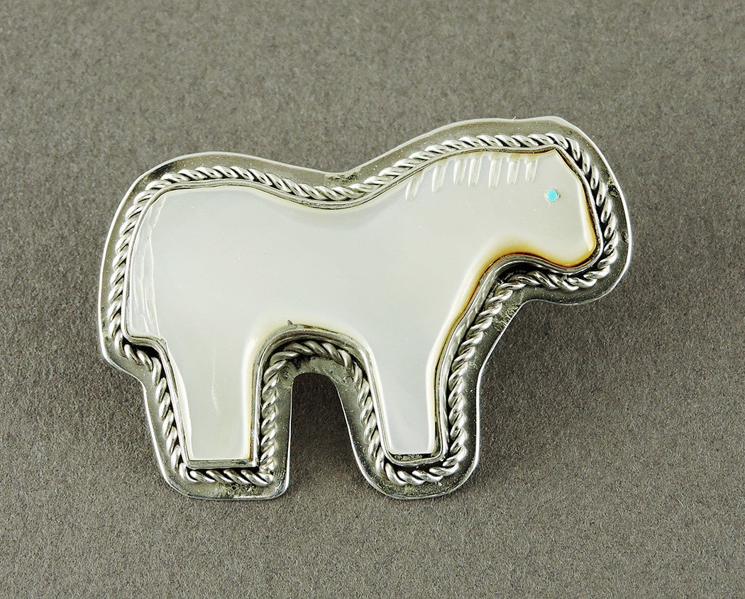 Mother-Of-Pearl & Sterling Silver Horse Pendant
