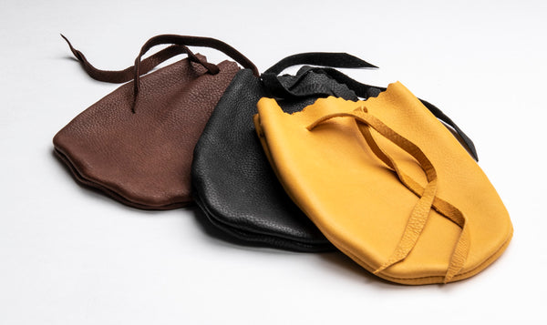 Large Leather Cornmeal Bags