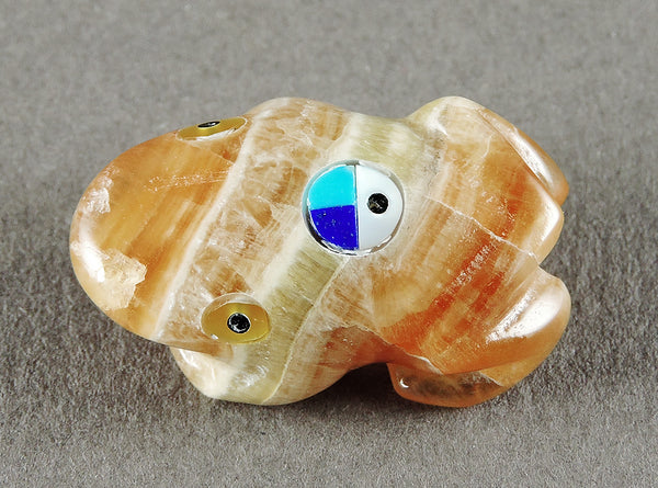 Rootbeer Onyx Frog With Inlaid Zuni Sunface
